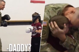 Soldier dad surprises son.