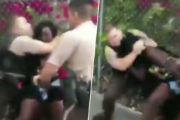 Woman put in headlock by police officer
