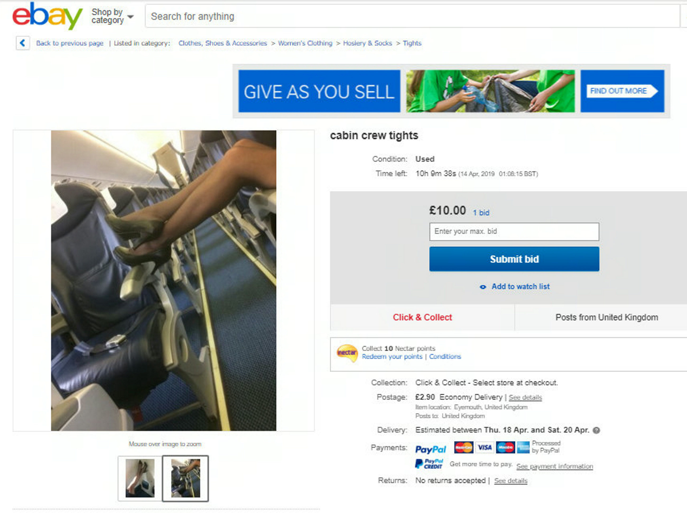 "Screengrab from ebay showing used cabing crew tights and stockings that are up for grabs. An air steward has claimed they are so poorly paid they are being forced to sell unwashed uniforms online - to PERVERTS. See SWNS story SWBRuniform. Cabin crew from top airlines including easyJet, Jet2, Virgin Atlantic and Emirates have been flogging used uniform, tights and shoes on eBay. The ""worn"" and often unwashed uniform items are sometimes listed as ""very worn and fragrant of my natural perfumes"", and appear to be listed for fetishists. But a Norwegian Airlines cabin crew member has now come forward to reveal that it is the ""appallingly low"" salaries that have led to staff on ""every flight"" selling their clothes to people with ""perverse interests"". The crew member, who wished to remain anonymous, claims that some of his colleagues have been offered up to £500 for a pair of worn tights - and have contemplated accepting."