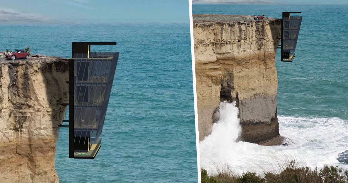 House hanging off cliff