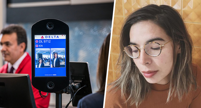 Woman asks questions about airlines face recognition