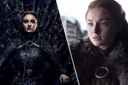 Sophie Turner as Sansa Stark on the iron throne game of thrones