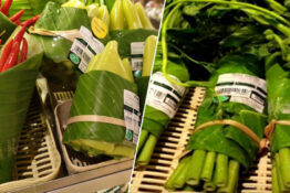Supermarket uses banana leaves as plastic supermarket