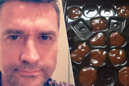 Guy replaces chocolates with brown sauce