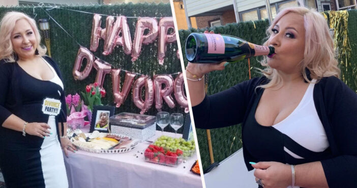 Woman throws a divorce party.