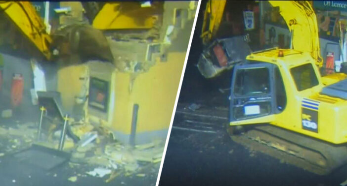 Thief steals ATM with a digger.