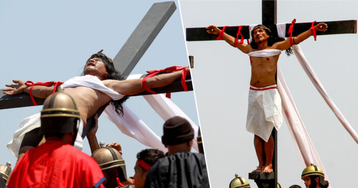 Catholics nail themselves to crosses for Good Friday.