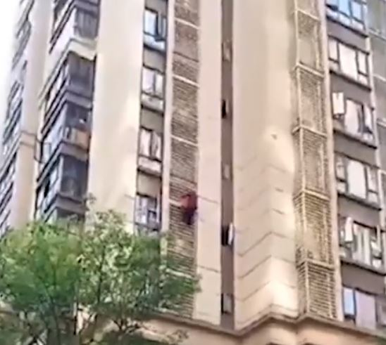 Grandma scales building after being locked in flat