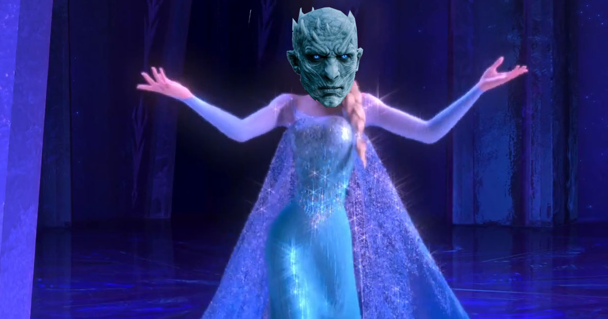 Night King's head on Elsa's body