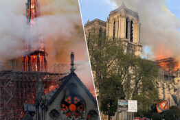 The wooden frame of Notre Dame Cathedral is burnt.