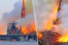 Notre Dame rood and spire have collapsed.