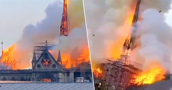 Notre Dame roof and spire have collapsed