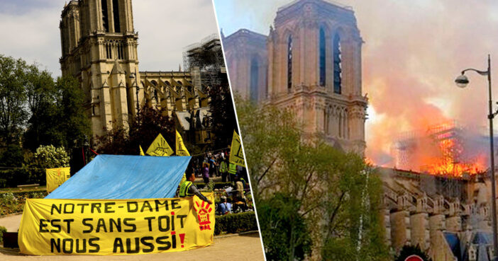 Housing campaigners protest outside of Notre Dame.