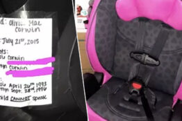 paramedic's tip for parents pinning a note to their child's car seat