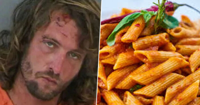 Ben Padgett of Naples, Florida arrested an an Olive Garden for eating pasta aggressively.
