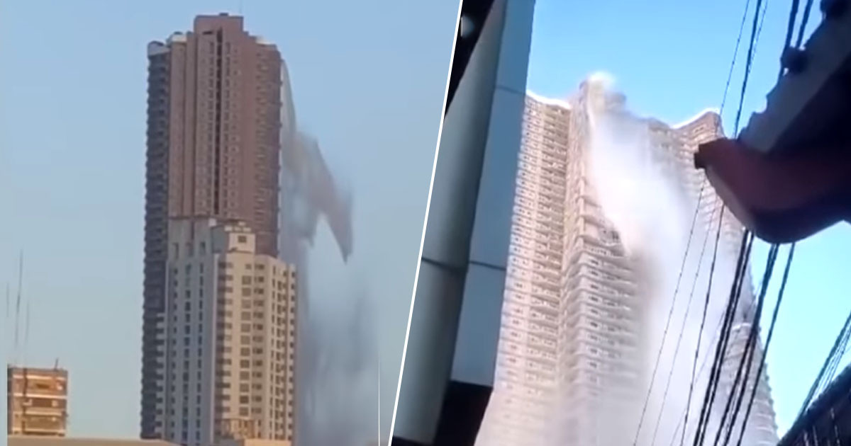Incredible footage from the Philippines shows skyscraper transformed into a waterfall during an earthquake.