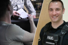 Police officer drives man to job interview and he gets the job.