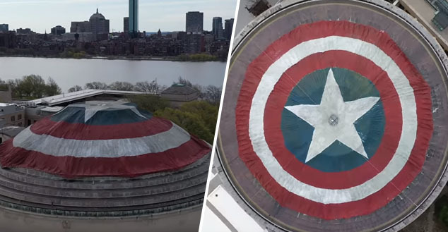 MIT students turn college dome into captain america's shield