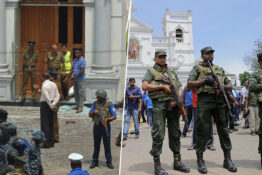 armed police outside churches in Sri Lanka after explosions hit churches and hotels