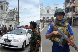 armed officers outside buildings in Sri Lanka after churches and hotels hit by explosions