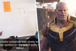 teacher writes avengers spoilers on board
