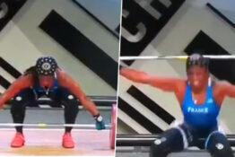 Female weightlifet Gaelle Nayo Ketchanke snaps her arm in two places during the European Championships.