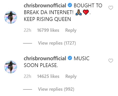 Chris Brown comments on Rihanna's photo