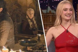 sophie turner explains who left the coffee cup in game of thrones