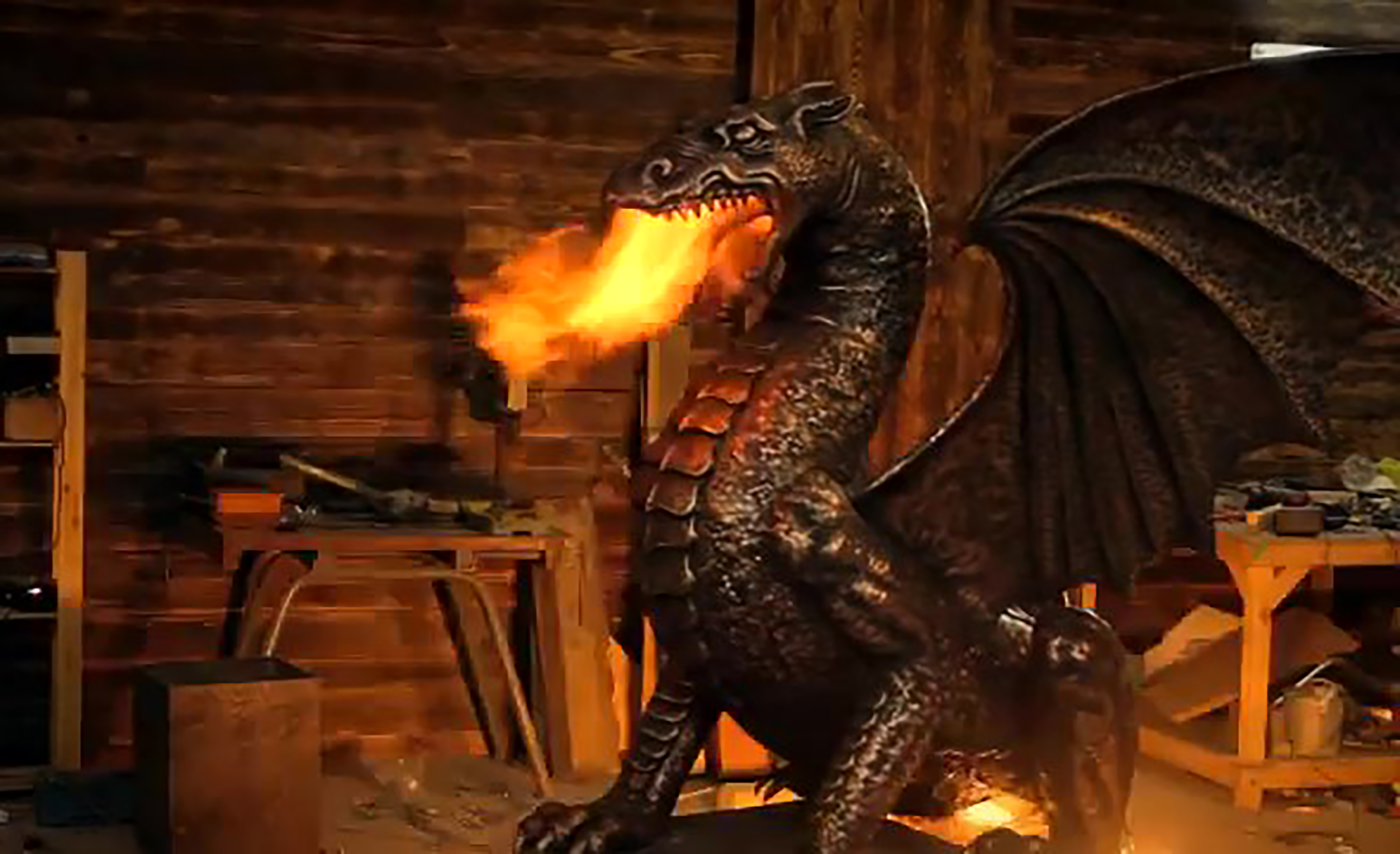 fire breathing dragon statue