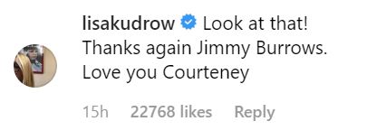 Lisa Kudrow comments on courtney cox's instagram