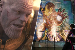 iron man mural thanos