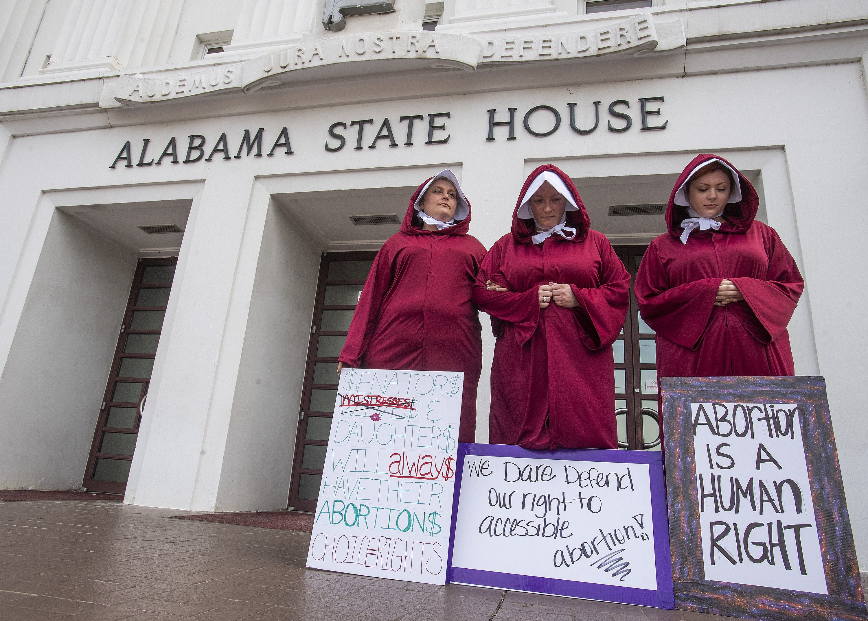 protestors outside Alabama senate