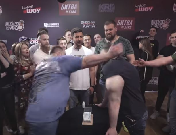 Synthol 'Bodybuilder' Takes On Russian Slap Champion And