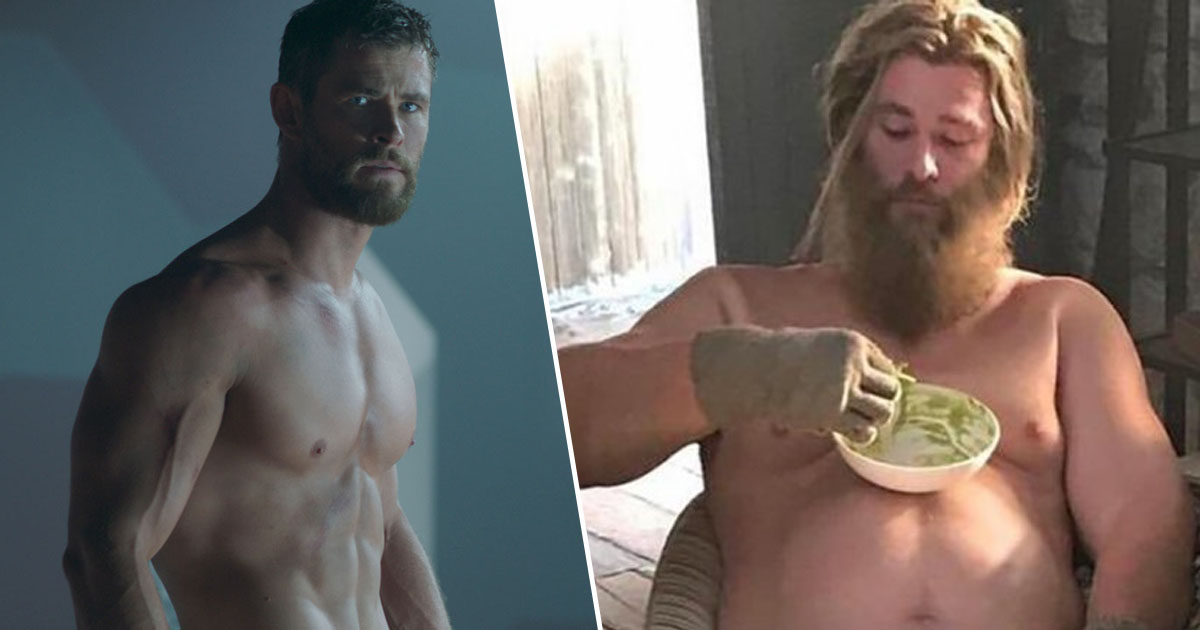 Chris Hemsworth Thor Gym routine Avengers: Endgame Fat suit