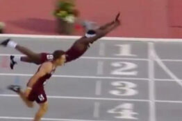 American Hurdler Dives Over Finish Line To Win 400m Race