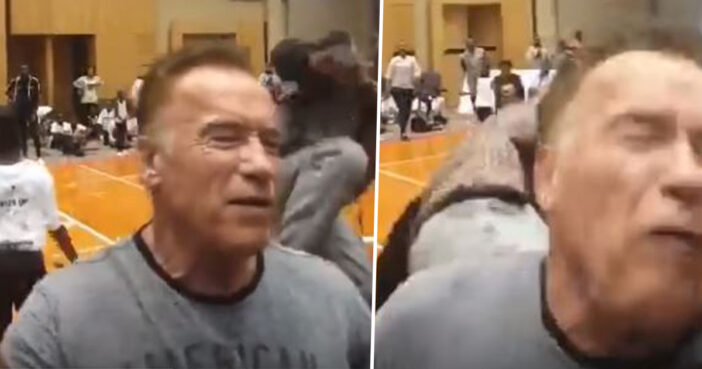 Arnold Schwarzenegger attacked by attending sports event in South Africa.