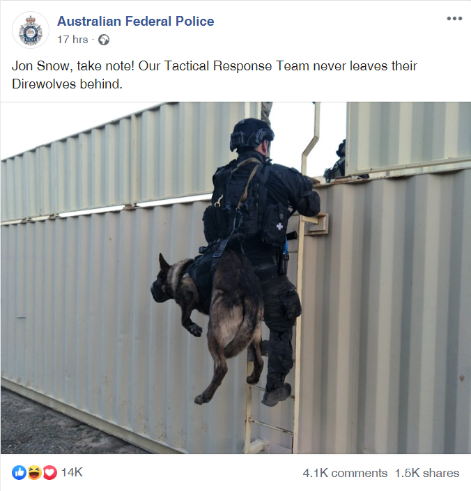 Australian Police Share Message With Jon Snow After He Abandoned Ghost