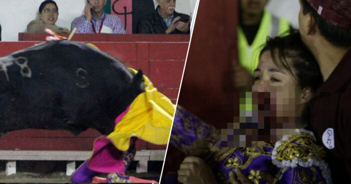 Bullfighter gored in the face in Mexico.