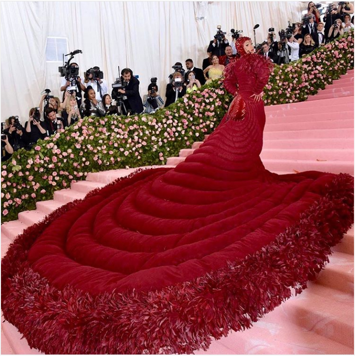 cardi b met gala gown menstrual blood period look