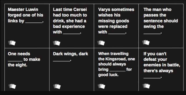 You Can Now Play A Game Of Thrones Themed 'Cards Against Humanity' Deck