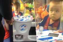 boy trapped in claw machine teddy bear