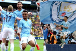Manchester City win unprecedented treble.