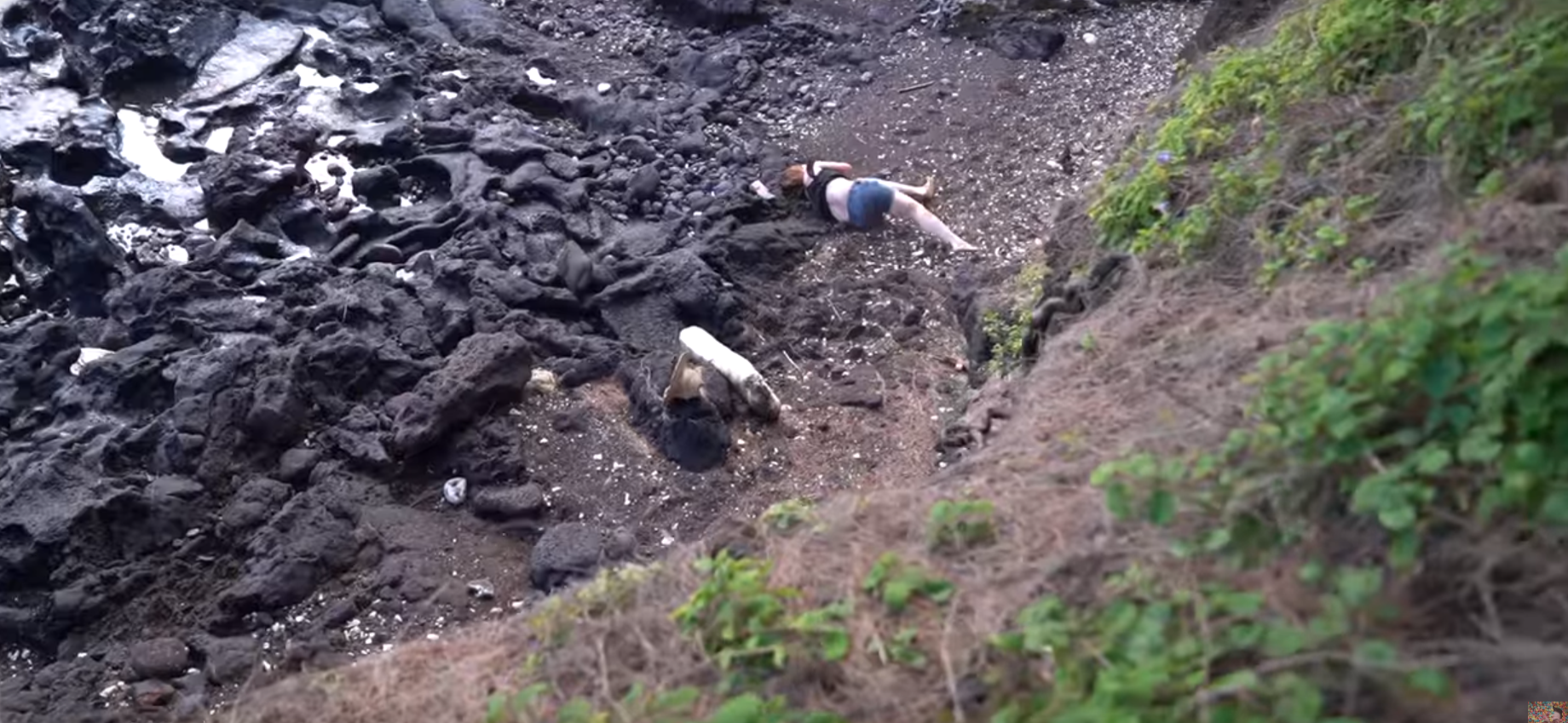 wife falls off small cliff