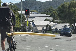 Cyclist uses pool noodle to keep drivers at a distance