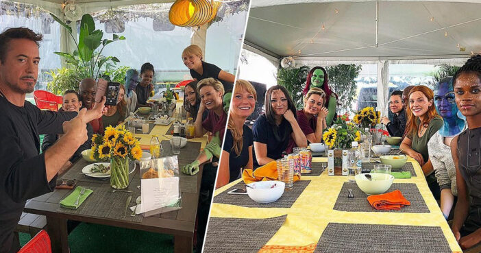 Robert Downey Jr. hosts a lunch with the women of Marvel.