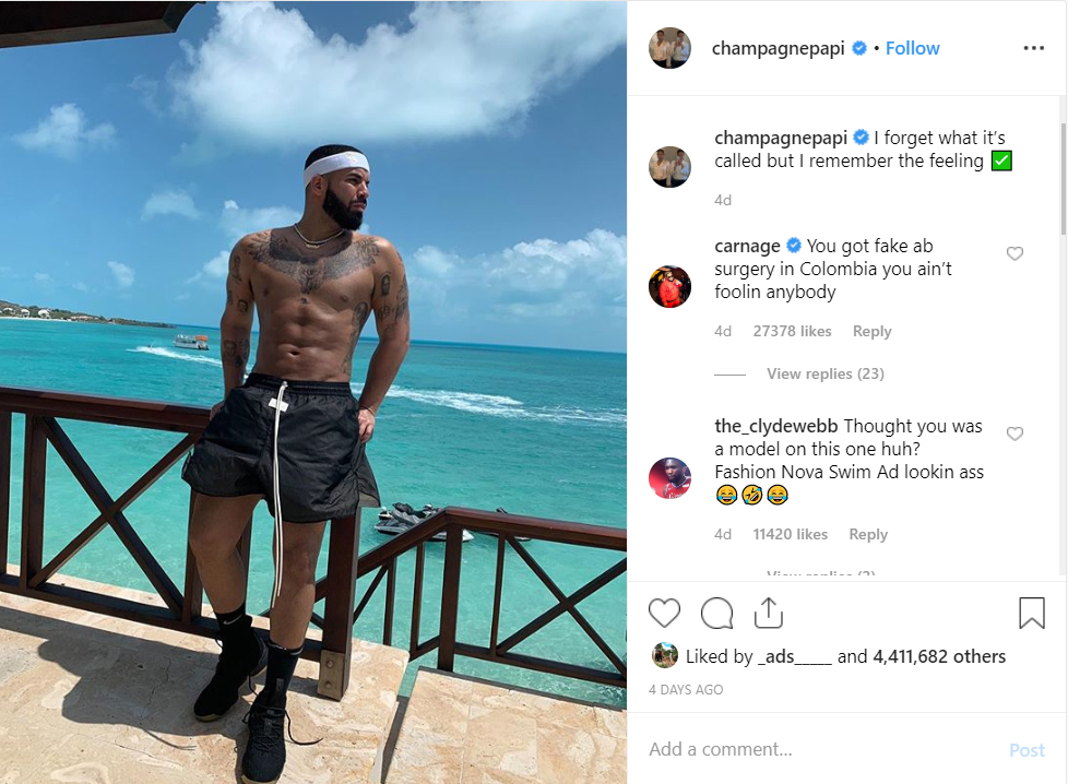 Drake's Shirtless Selfie Sparks Plastic-Surgery Rumours