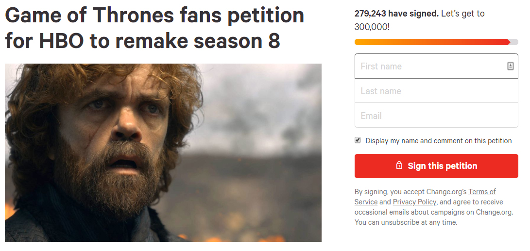 Over 250,000 People Sign Petition To Remake Game of Thrones Season Eight