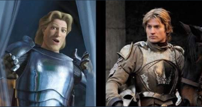 prince charming in shrek/jaime lannister in game of thrones