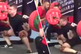 powerlifter breaking leg