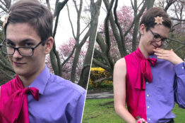 guy takes himself to prom in half suit-half dress outfit